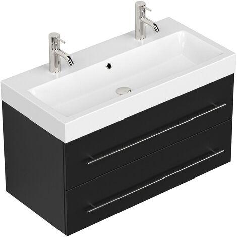 Mueble de baño Sunrise Negro satinado