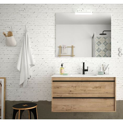 Mueble de baño suspendido 100 cm Nevada de madera Roble Ostippo con lavabo de porcelana