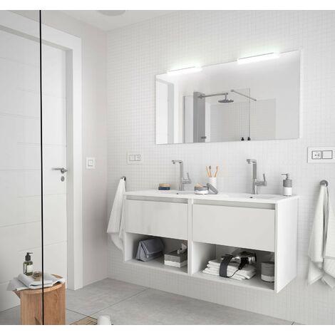 Mueble de baño suspendido 120 cm de madera Blanco brillante con dos cajones y dos compartimentos