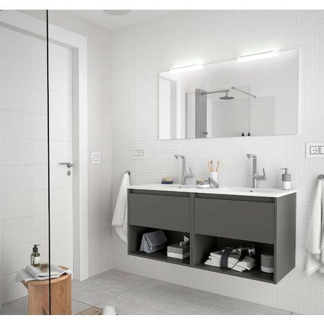 Mueble de baño suspendido 120 cm de madera Gris Mate con dos cajones y dos compartimentos