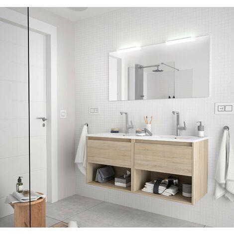 Mueble de baño suspendido 120 cm de madera Roble Caledonia con dos cajones y dos compartimentos