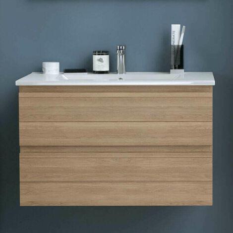 Mueble de baño suspendido 120 cm Graphika en Roble natural con lavabo integrado en ceramica