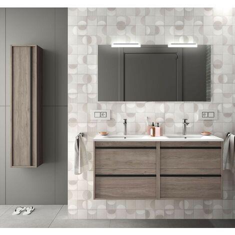 Mueble de baño suspendido 120 cm Nevada en madera Roble eternity con lavabo de porcelana