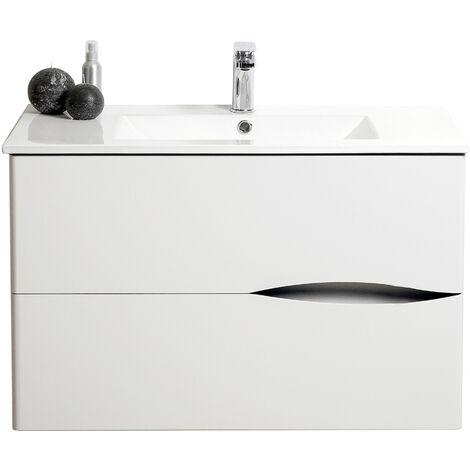 Mueble de bano suspendido 2DOO 70 Blanco Dimensiones : 71x46x56,5 cm - Aqua+