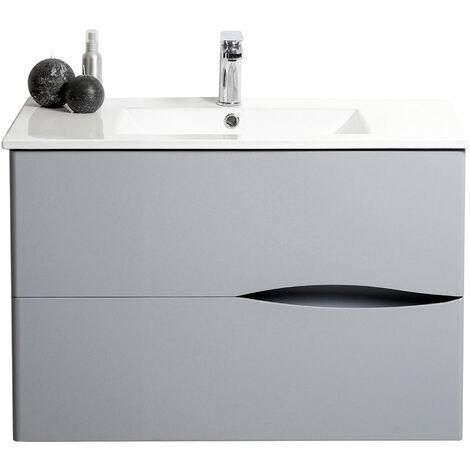 Mueble de bano suspendido 2DOO 70 Gris Dimensiones : 71x46x56,5 cm - Aqua+