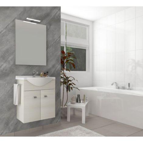 Mueble de baño suspendido 55 cm de madera roble blanco con lavabo de cerámica