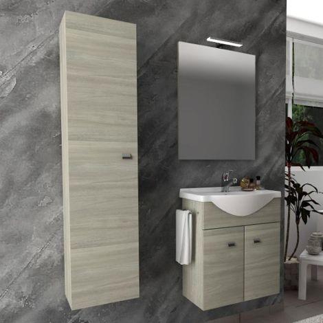 Mueble de baño suspendido 55 cm de madera roble gris con lavabo de cerámica