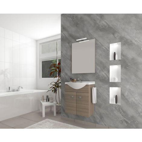 Mueble de baño suspendido 55 cm de madera roble humo con lavabo de cerámica