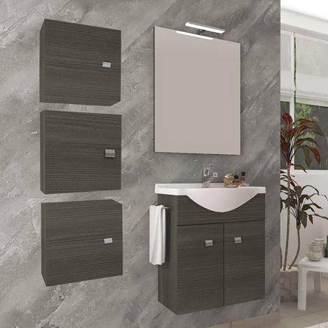 Mueble de baño suspendido 55 cm de madera roble oscuro con lavabo de cerámica