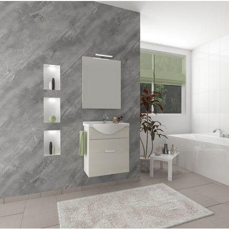 Mueble de baño suspendido 55 cm Holly en madera roble gris con un cajón y un lavabo de cerámica