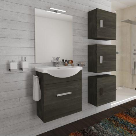 Mueble de baño suspendido 55 cm Holly en madera roble oscuro con un cajón y un lavabo de cerámica
