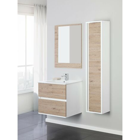 Mueble de baño suspendido 60 cm color roble Feridras fabula 801009 | roble claro