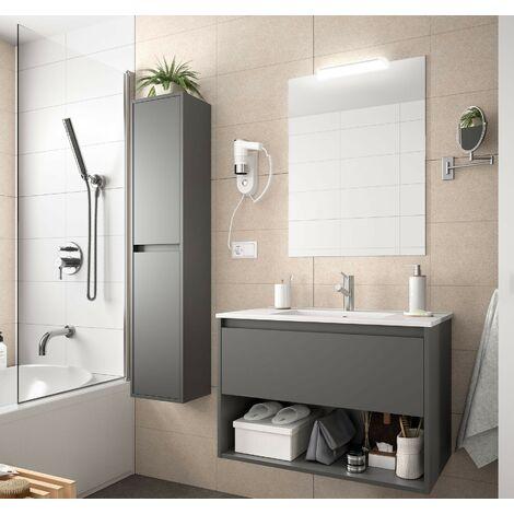 Mueble de baño suspendido 60 cm de madera gris mate con un cajón y un compartimento