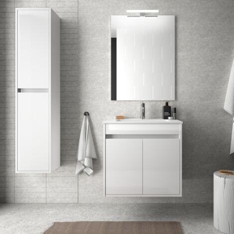 Mueble de baño suspendido 60 cm de madera lacado blanco brillante con dos puertas
