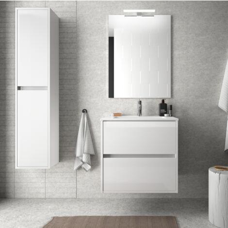 Mueble de baño suspendido 60 cm de madera lacado blanco brillante con lavabo de porcelana