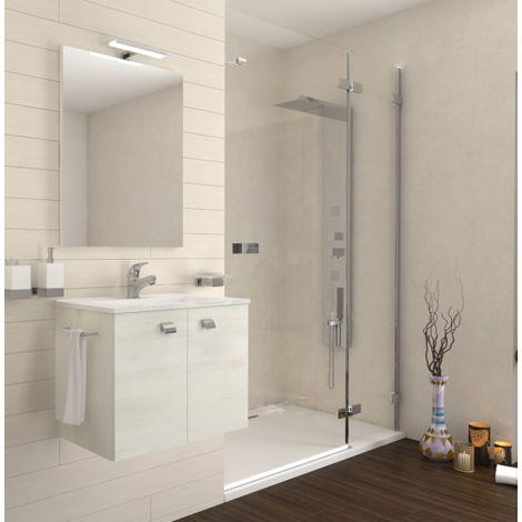 Mueble de baño suspendido 60 cm de madera roble blanco con lavabo de cerámica