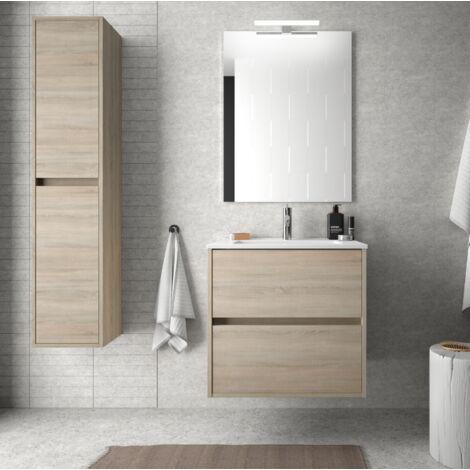 Mueble de baño suspendido 60 cm de madera Roble caledonia con lavabo de porcelana