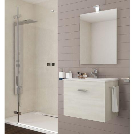 Mueble de baño suspendido 60 cm Holly de madera roble blanco con un cajón y un lavabo de cerámica