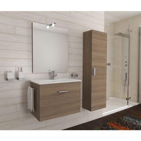 Mueble de baño suspendido 60 cm Holly de madera roble humo con un cajón y un lavabo de cerámica