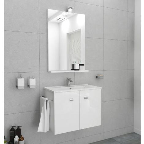 Mueble de baño suspendido 60 cm Ocean de madera blanca brillante con espejo y lavabo
