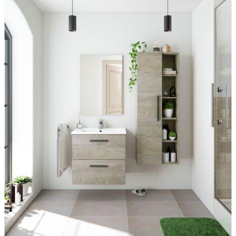 Mueble de baño suspendido 60 cm Roble con Lavabo y Espejo