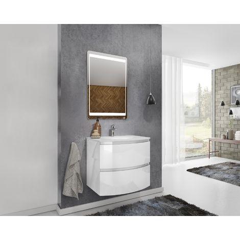 Mueble de baño suspendido 70 cm Atene en madera lacado blanco brillante con lavabo y espejo | 70 cm - Standard