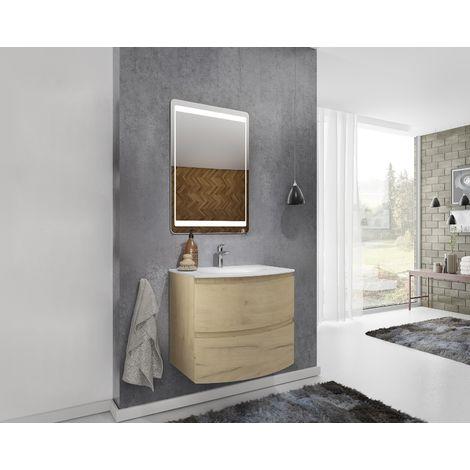 Mueble de baño suspendido 70 cm Atene en madera Roble dorado con lavabo y espejo | 70 cm - Standard