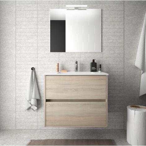 Mueble de baño suspendido 70 cm de madera Roble Caledonia con lavabo de porcelana