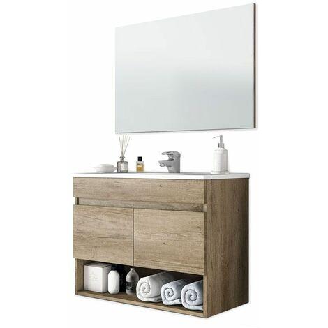 Mueble de baño suspendido 80 cm color nordik con espejo