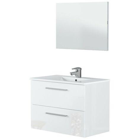 Mueble de baño suspendido 80 cm lacado blanco brillante con espejo