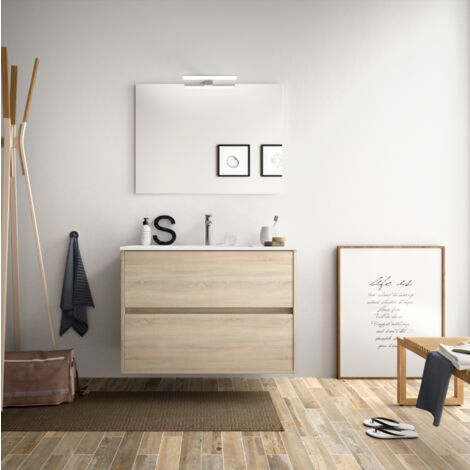 Mueble de baño suspendido 80 cm Roble Caledonia con lavabo de porcelana