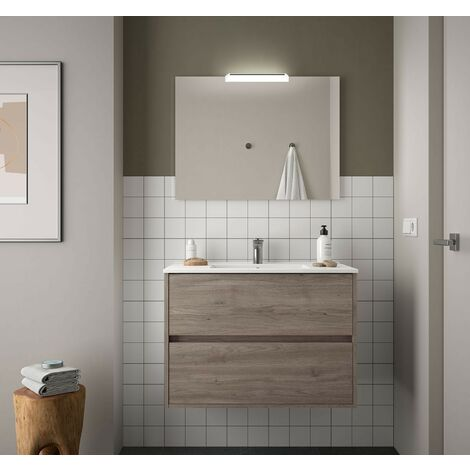 Mueble de baño suspendido 80 cm Roble Eternity con lavabo de porcelana
