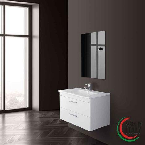 Mueble de baño suspendido 81 cm color blanco Feridras stella 799005 | Lacado blanco