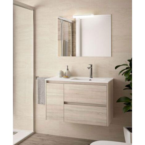 Mueble de baño suspendido 85 cm de madera Roble Caledonia con lavabo bañera derecha