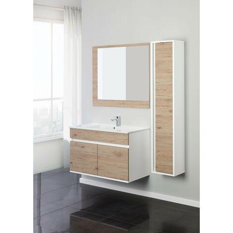 Mueble de baño suspendido 90 cm con puertas de roble Feridras Fabula 801012 | roble claro