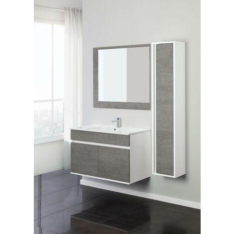 Mueble de baño suspendido 90 cm en color cemento Feridras Fabula 801011   Hormigón