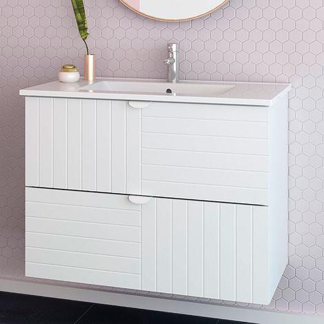 Mueble de baño suspendido Belle + Lavabo cerámica - Estilo clásico - MDF lacado mate de alta calidad - Anchura 80 cm