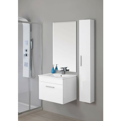 Mueble de baño suspendido blanco brillante Feridras show 60 | Blanco brillante