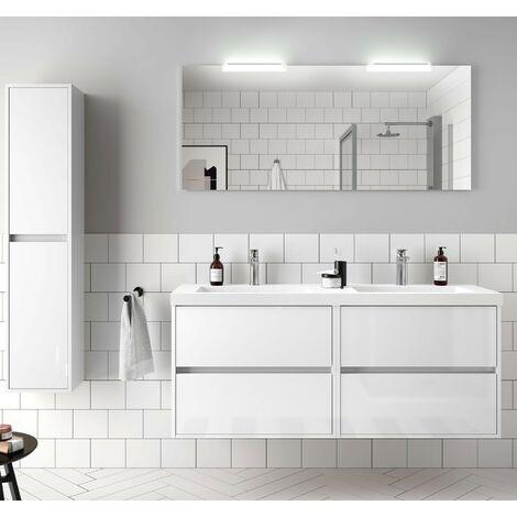 Mueble de baño suspendido de 140 cm en madera blanca brillante con lavabo de mármol mineral
