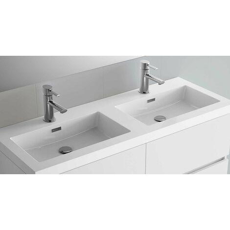 Mueble de baño suspendido de 140 cm en madera marrón Caledonia con lavabo de mármol mineral