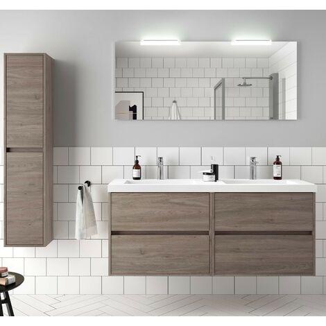 Mueble de baño suspendido de 140 cm en madera Roble Eternity con lavabo de mármol mineral