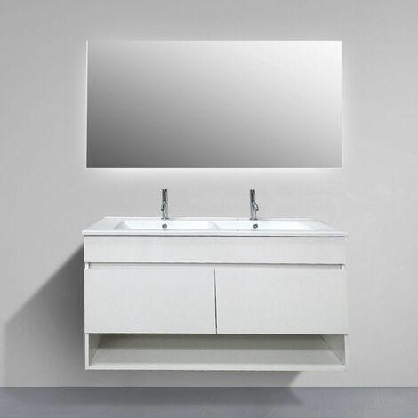 Mueble de baño suspendido HERA con espejo y lavabo de dos senos 120 cm ¡SE ENVÍA MONTADO!