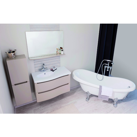 Mueble de bano suspendido ITALO 90 TOPO Dimensiones : 91X46x58 cm- Aqua+