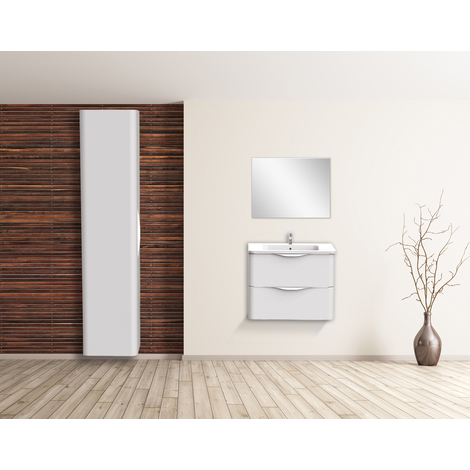 Mueble de bano suspendido JAPHAR 70 BLANCO Dimensiones : 71x46x55 cm - Aqua +