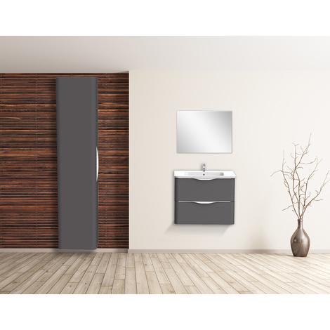 Mueble de bano suspendido JAPHAR 70 Gris Dimensiones : 71x46x55 cm - Aqua +