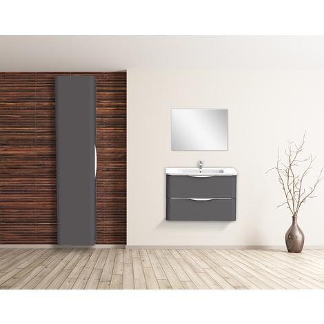 Mueble de bano suspendido JAPHAR 90 Gris Dimensiones : 91x46x55 cm - Aqua +