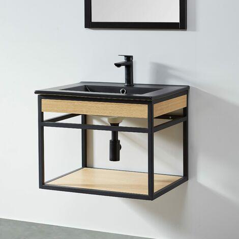 Mueble de Baño suspendido + Lavabo negro 60 cm PURE – Madera y Metal Negro