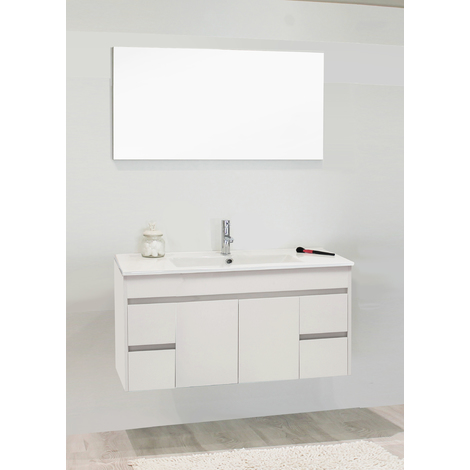 Mueble de bano suspendido NINA 100 blanco Dimensiones : 101X46,5x52 cm- Aqua+