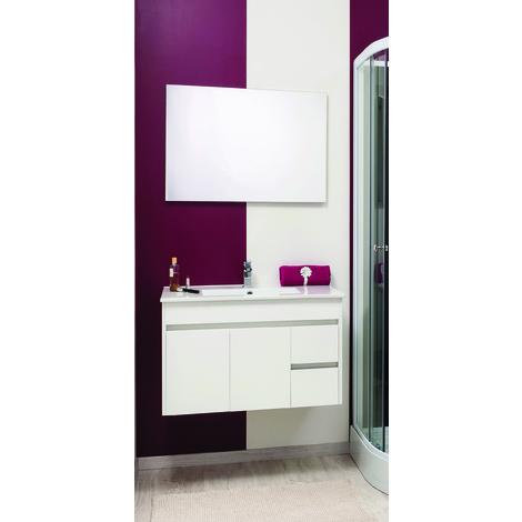 Mueble de bano suspendido NINA 80 blanco Dimensiones : 81X46,5x52 cm- Aqua+