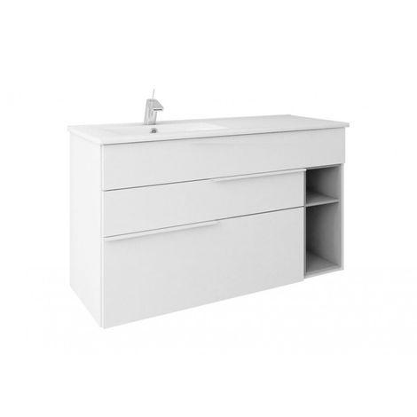 Mueble de baño suspendido NOOK estilo moderno + lavabo de cerámica - Blanco gris - Ancho 100 cm